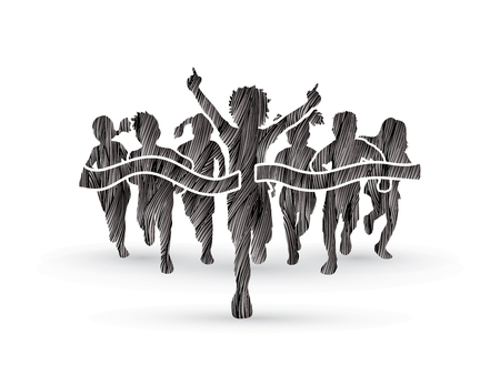 Winner Running, Group of Children Running, designed using black grunge brush graphic vector.