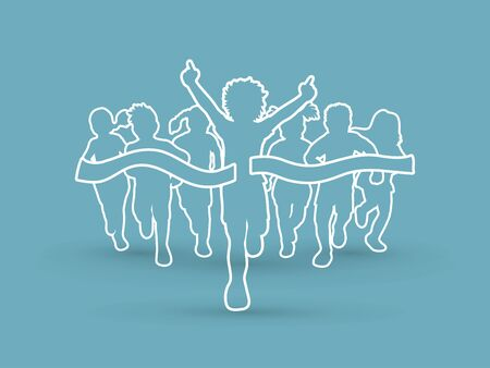 athleticism: Winner Running, Group of Children Running outline graphic vector.