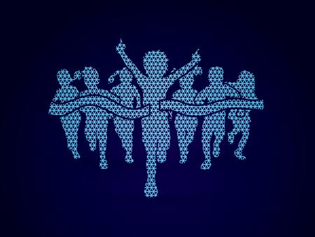 Winner Running, Group of Children Running, designed using mosaic pattern graphic vector. Illustration