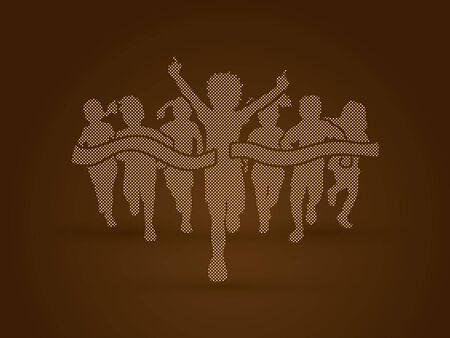 children running: Winner Running, Group of Children Running, designed using golden pixels graphic vector. Illustration