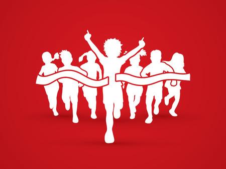 Winner Running, Group of Children Running graphic vector.