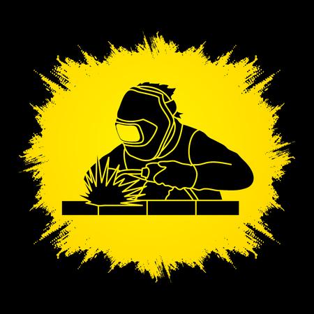 Spawanie pracy Spawacz zaprojektowany grunge ramki grafiki wektorowej