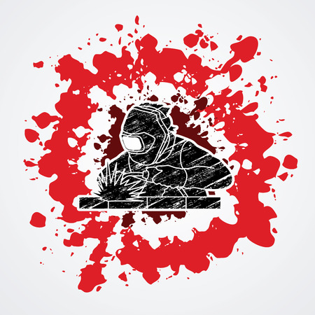 welder: Welder working welding designed on grunge blood background graphic vector