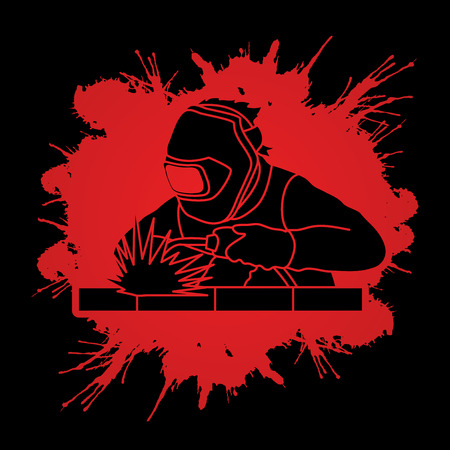 Welder working welding designed on splatter blood background graphic vector