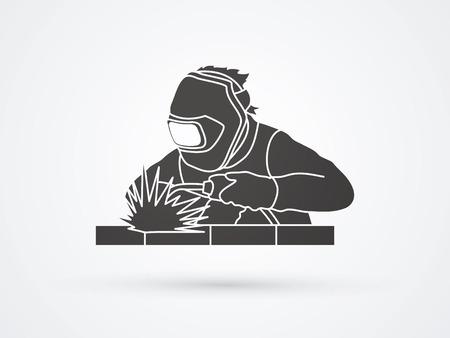 Welder working welding graphic vector