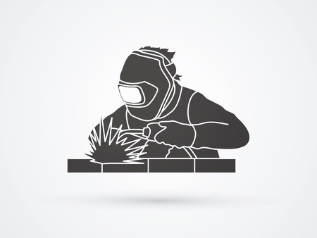Welder working welding graphic vector
