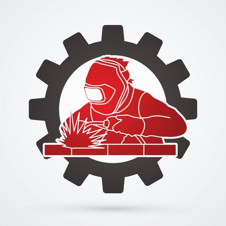 Welder working welding designed on gear wheel background graphic vector
