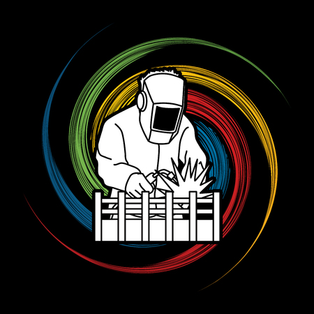 Welding with sparks designed on spin wheel background graphic vector.