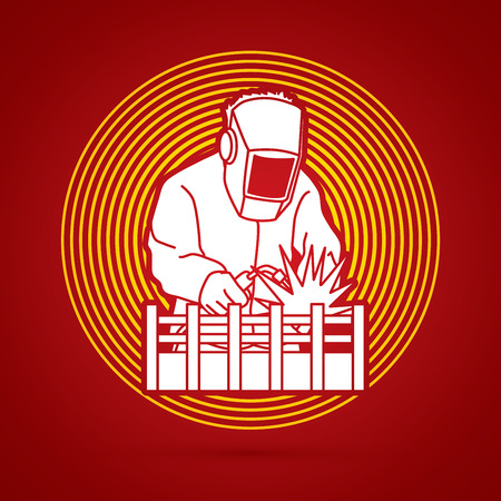 Welding with sparks designed on circle light background graphic vector.