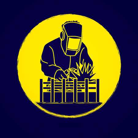 Welding with sparks designed on grunge circle background graphic vector.