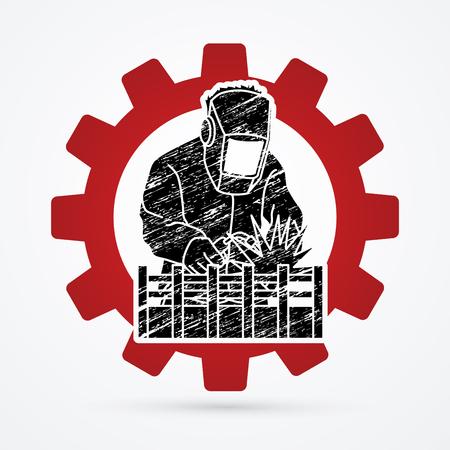 soldador: Soldadura con chispas diseñadas en el fondo de la rueda gar gráfico vectorial.