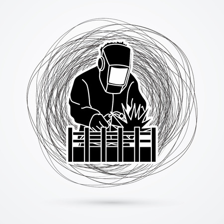 confuse: Welding with sparks designed on line confuse background graphic vector.