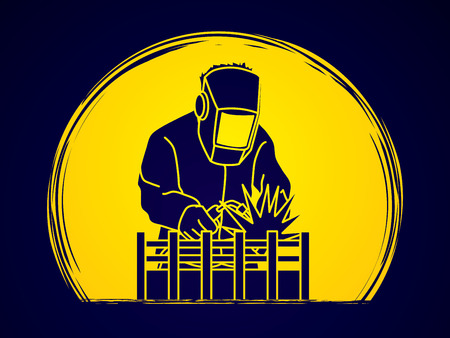 Welding with sparks designed on moonlight background graphic vector.