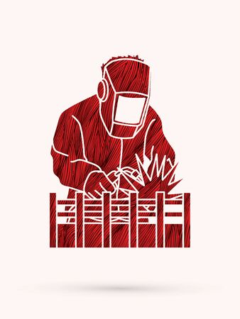 metalwork: Welding with sparks designed using red grunge brush graphic vector.