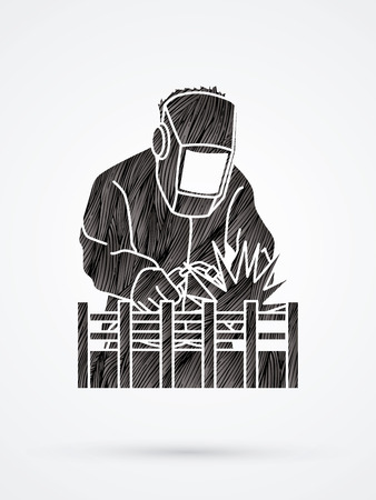 Welding with sparks designed using black grunge brush graphic vector.