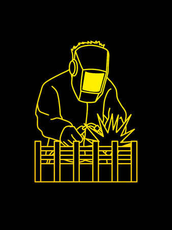 Welding with sparks outline graphic vector. Illustration
