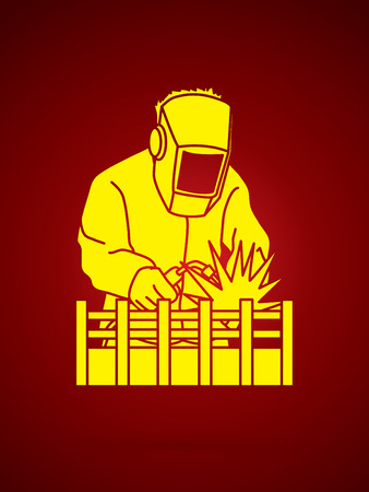 Welding with sparks graphic vector. Illustration