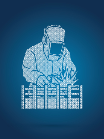 Welding with sparks designed using geometric pattern graphic vector.