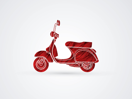 Scooter designed using red grunge brush graphic vector
