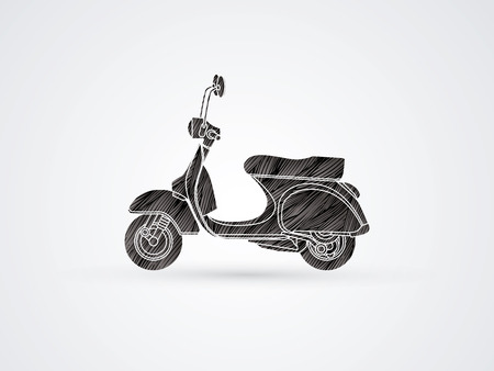 Scooter designed using black grunge brush graphic vector