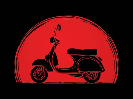 Scooter designed on sunset background graphic vector