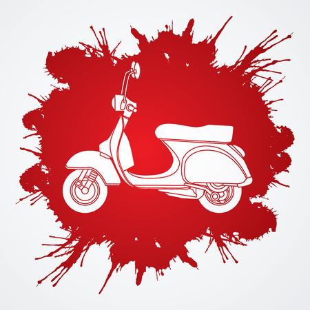Scooter designed on splatter blood background graphic vector Illustration