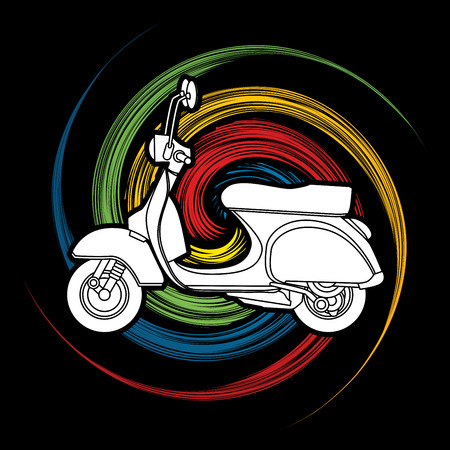 spin: Scooter designed on spin wheel background graphic vector