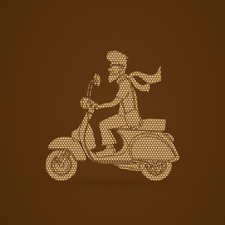 commuter: Man riding scooter designed using geometric pattern graphic vector.