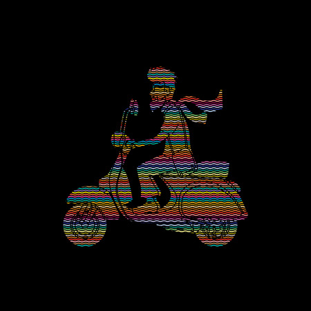 commuter: Man riding scooter designed  using colorful line rainbows graphic vector.