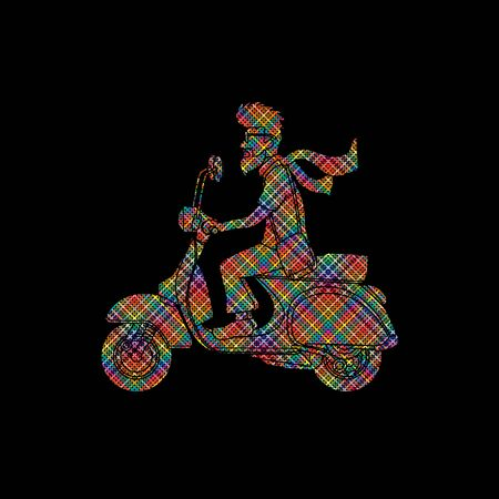 Man riding scooter designed  using colorful pixels graphic vector.
