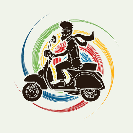 spin: Man riding scooter designed on spin wheel background graphic vector. Illustration