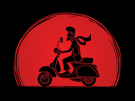 életmód: Man riding scooter designed on sunset background graphic vector.
