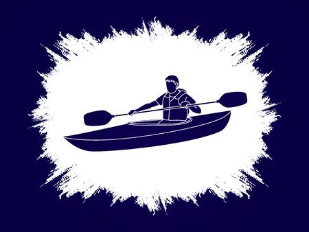 grunge frame: A man kayaking designed on grunge frame background graphic vector.