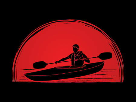A man kayaking designed on sunrise background graphic vector.