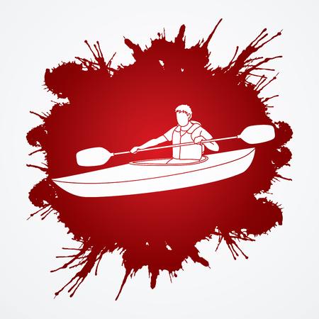 A man kayaking designed on splash blood background graphic vector. Illustration
