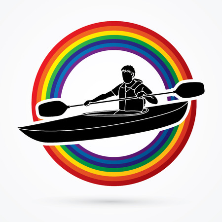 A man kayaking designed on line rainbows background graphic vector. Иллюстрация