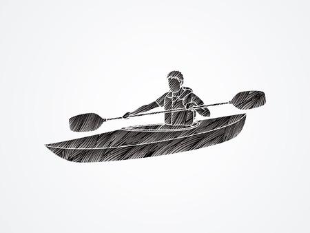 A man kayaking designed using black grunge brush graphic vector.