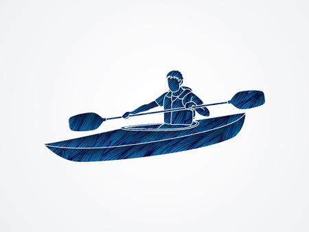 A man kayaking designed using blue grunge brush graphic vector.