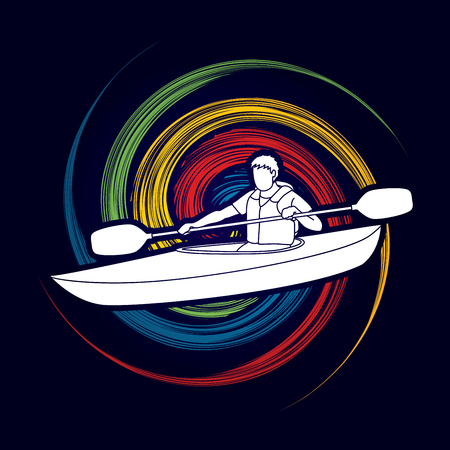 spin: A man kayaking designed on spin wheel background graphic vector.