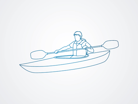 one man only: A man kayaking outline graphic vector.