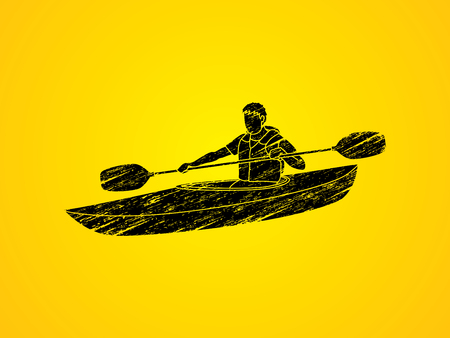 A man kayaking designed using grunge brush graphic vector.