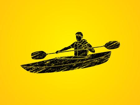 A man kayaking designed using grunge brush graphic vector.