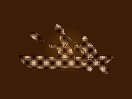 People kayaking designed using dots pixels graphic vector.