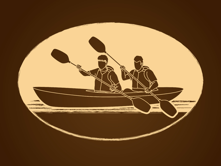 People kayaking designed using gold color graphic vector.