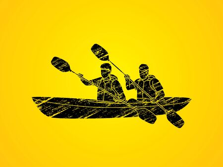 People kayaking designed using grunge brush graphic vector. Illustration