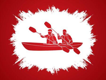 grunge frame: People kayaking designed on grunge frame background graphic vector.