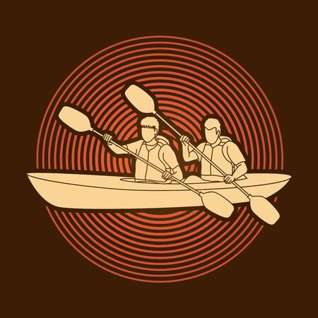 People kayaking designed on circle light background graphic vector.