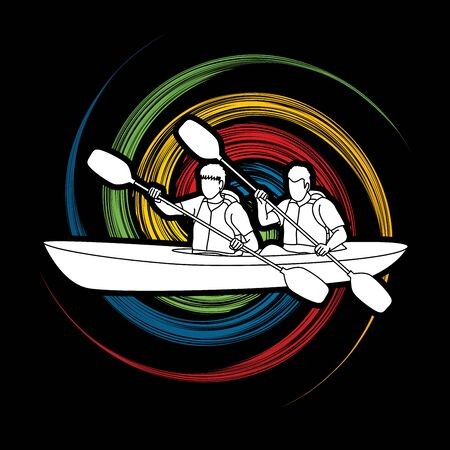 spin: People kayaking designed on spin wheel background graphic vector. Illustration