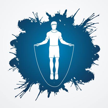 Sport man jumping rope designed on splatter ink background graphic vector.