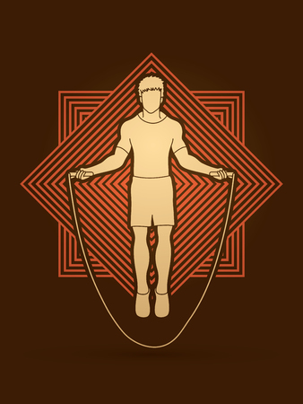 Sport man jumping rope designed on line square background graphic vector.